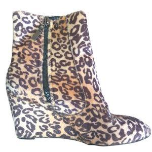 Jessica   furry leopard wedge heel booties